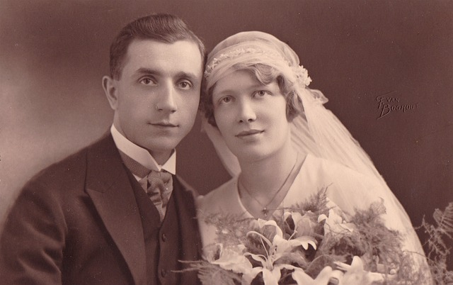 Vintage bridal couple